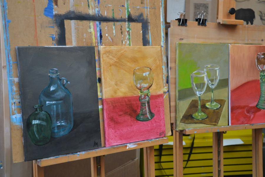 De technische oefening. Het schilderen van glaswerk.